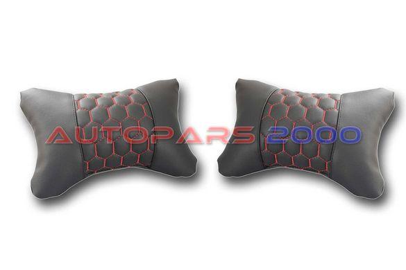 Възглавници за автомобилна седалка / Еко Кожа / черни с червен шев