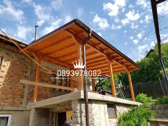 Изграждане на дървени навеси беседки барбекюта навеси на тераса