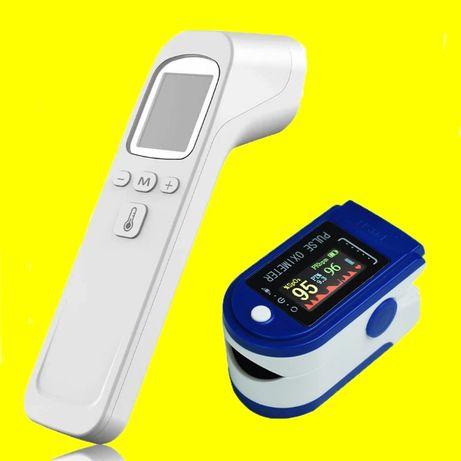КОМПЛЕКТ безконтактен термометър и оксиметър сатурация, пулс, перфузия