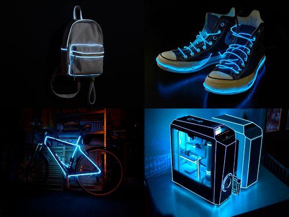 LED ЛЕД / Neon Неон светещ кaбел за декорация велосипед компютър бюро