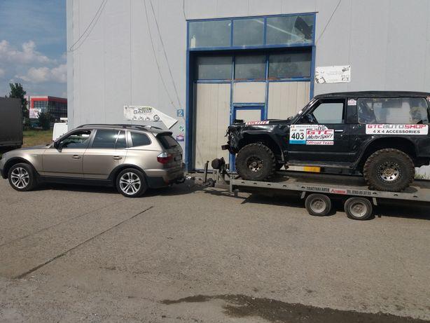 Tractari autoturisme cu auto 4x4 si platforma cu troliu electric