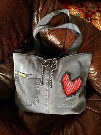 geanta blugi albastru-gri -inima-handmade