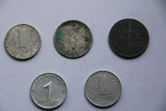 Монета 1 пфенинг Германия - ГДР, 1952г.