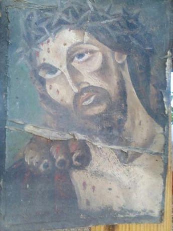 Icoana veche - pictura pe carton