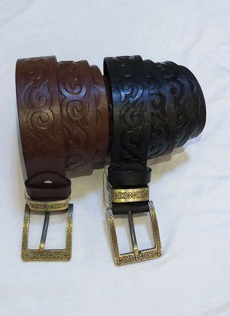 Кожаный ремень с орнаментом доставка по Казахстану