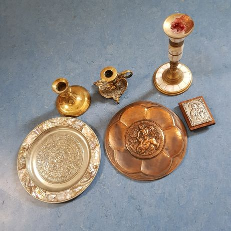 Комплект бакърени съдове декорации месинг сребро