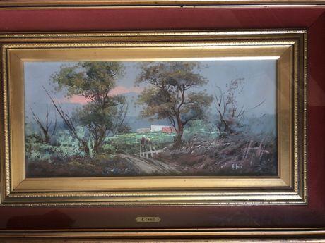 Tablou,pictura in ulei pe lemn,tehnica spaclu,semnat, certificat garan