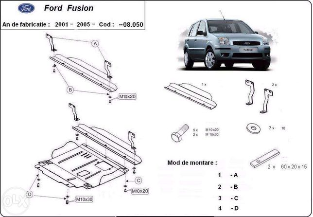 Scut metalic pentru motor Ford Fusion 2003-2016 - otel 2mm