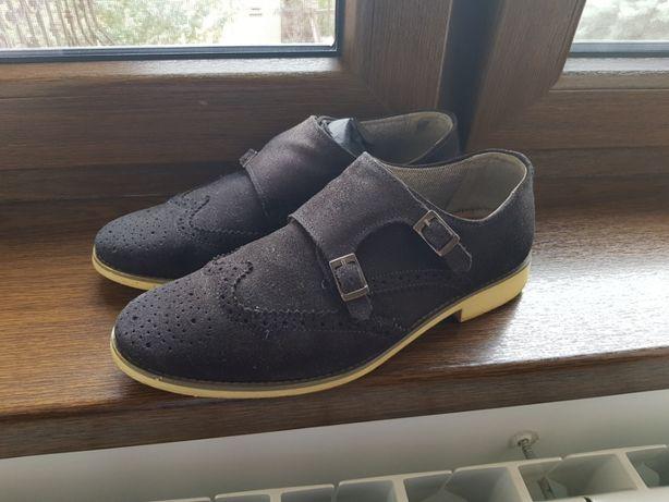 ZARA - Pantofi barbati brogue din piele intoarsa bluemarin - Marime 40