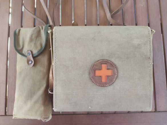 Стара медицинска чанта, Червен кръст - Пълен комплект!