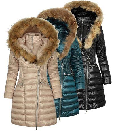 Зимно дълго дамско яке – 4086 качулка с естествен пух от лисица