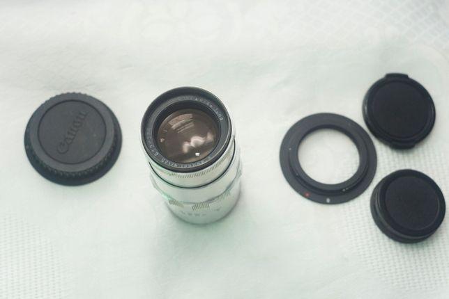 obiectiv foto Carl Zeiss Jena Sonnar 135mm manual cu capac original