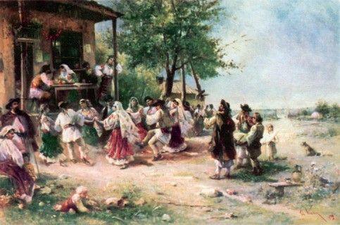 Tablou copie Hora de la Aninoasa 1890 .THEODOR AMAN