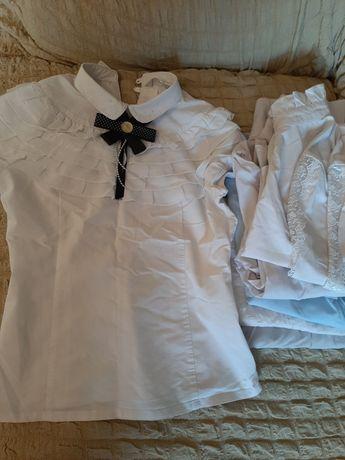 Школьная блузка  белая,нарядная.,хб.