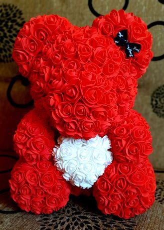Set trandafir criogenat si ursulet trandafiri spuma 40 cm