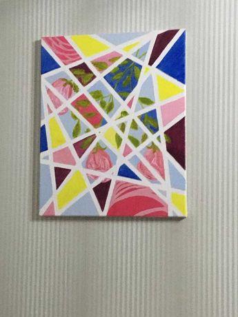 Pictura abstracta cu flori in ulei 50×40cm