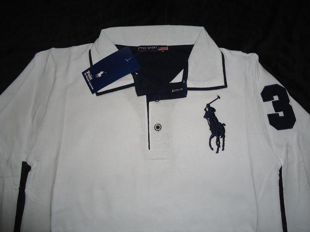 Bluza alba maneca lunga barbati tricou polo emblema supradimensionata