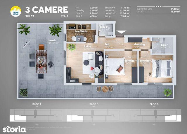 Apartament 3 camere -Titan, Metrou Nicolae Teclu