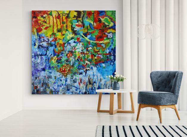 Большая картина холст масло 180х180 современная абстрактная