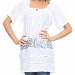Бяла блуза/туника  с бродерия -нова с етикет