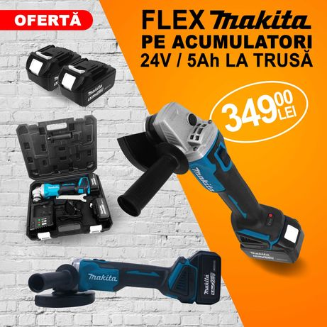 Flex Polizor unghiular cu acumulatori Makita  24V - 5Ah