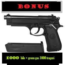 Pistol BERETTA green gas+ BONUS 1000 bile+green gas 400ml-1000 trageri