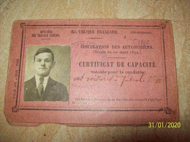 Vintage 1915 permis de conducere interbelic auto epoca Franta