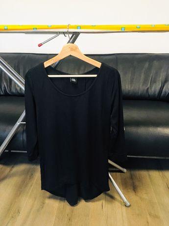 Bluză neagră asimetrică, cu voal, M/ 38-40