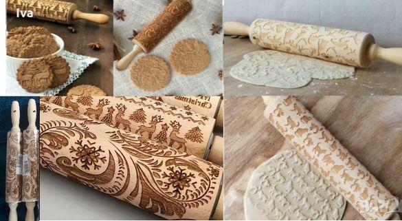 Дървени точилки с релефни шарки за бисквитки, тесто, фондан,