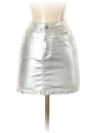 Fusta H&M metalica argintie silver club ocazie scurta gri