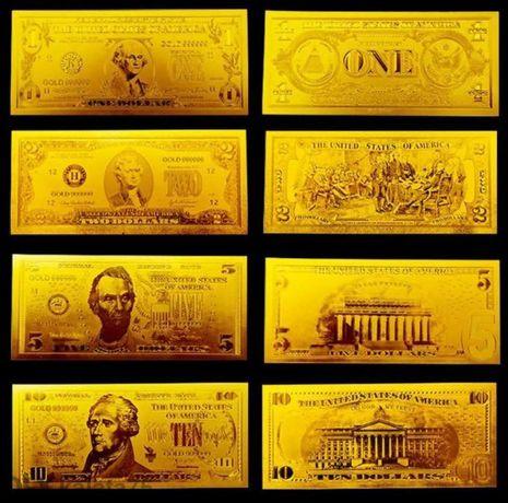 Щатски Долари , Цялата серия 7 Златни банкноти + Сертификат+ Плик