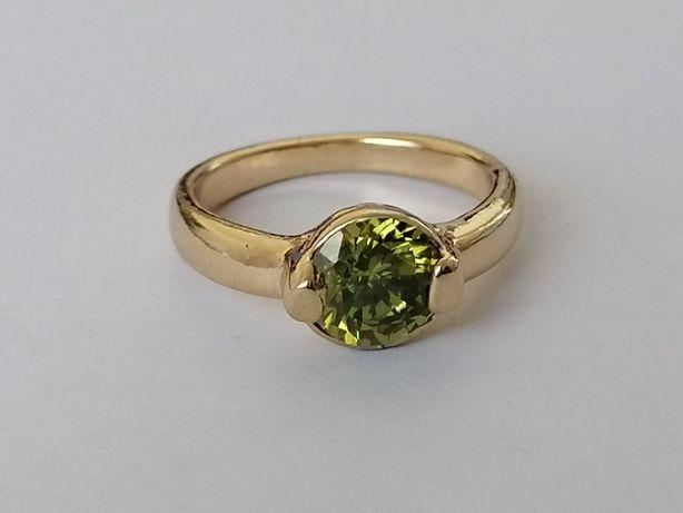 GR43, inel placat aur 14k, model deosebit, zirconiu verde