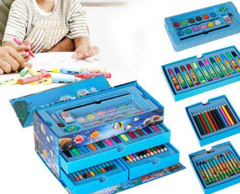 Рисувателен детски комплвект 54 части с чекмедже и куфарче с дръжка