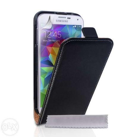 Husa Eleganta TOC PIELE FLIP NEGRU Samsung Galaxy S5 G900 + Folie