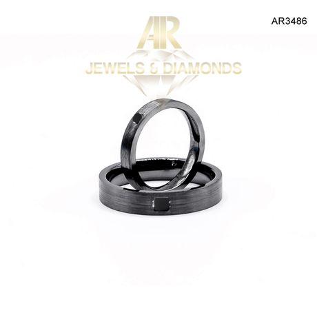 Verighete Aur Negru cu Diamante Negre model deosebit ARJEWELS(AR3486)