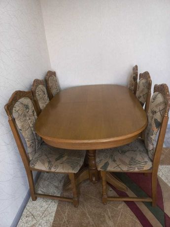 Продается дубовый стол с 6 стульями