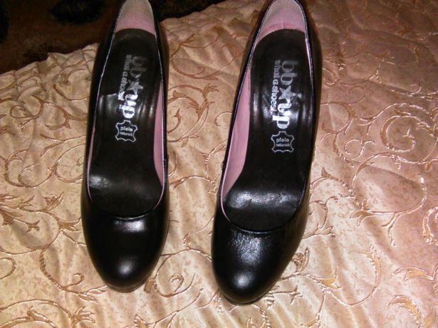 Pantofi din piele naturala,negri!