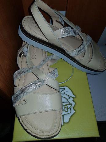 Sandale din piele naturala bej 38 NOI