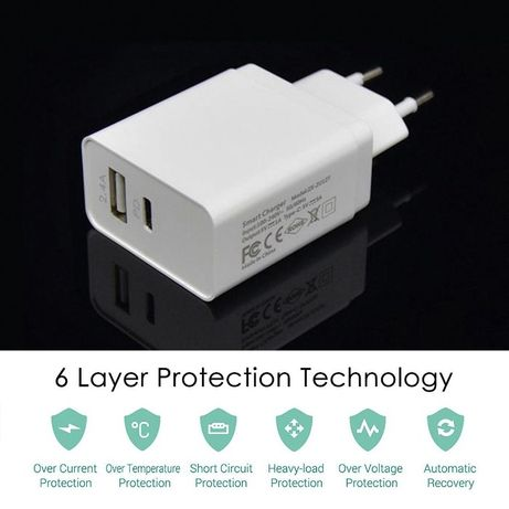 Fast Charger 18W iPhone 8,8Plus,X,XS,11 Pro Samsung S8 S9 USB-C + 2.4A