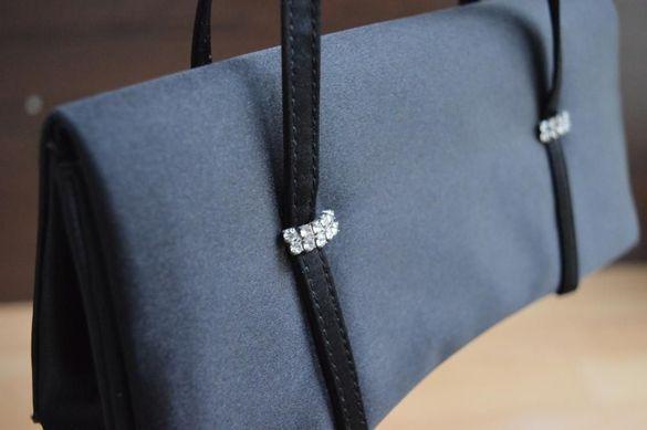 Официална дамска чантичка - черен сатен