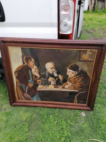 Tablou vechi pictat pe placaj