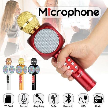 Безжичен bluetooth караоке микрофон с колонка RADIO Microsd selfie usb