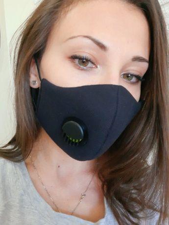 Защитна висококачествена трислойна памучна маска с клапан
