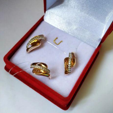 Золотой комплект новый серьги и кольцо