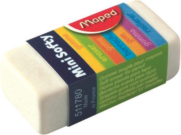 гумички--Комплект от 3 бр бял Maped Mini Softy Eraser