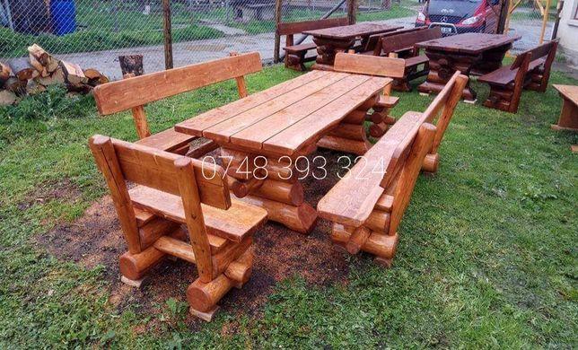 Set masa  cu  băncuțe  scaune  lemn  masiv  terasă bar