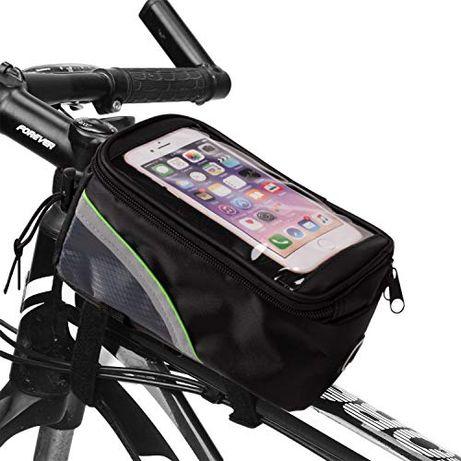 Стабилна водоустойчива чантичка за велосипед с отделение за телефон