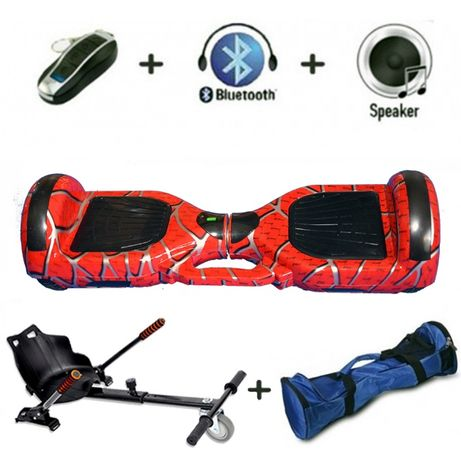 Hoverboard red Spider cu Hovercart