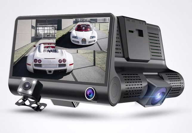 DVR Auto 3 Camere: Interior Microfon,Fata,Marsalier-Ecran 4' IPS FHD