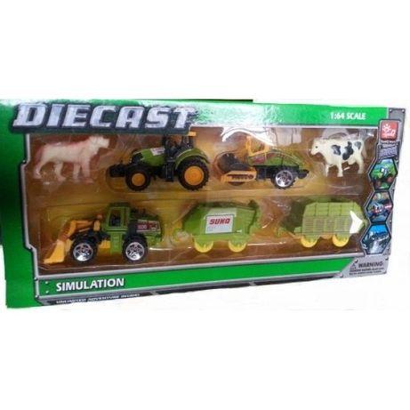 Set de jucarie pentru copii,tractor cu remorca si animale,ferma
